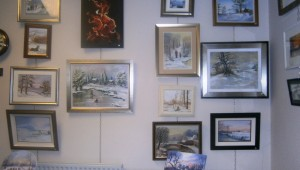 A selection of the painting submissions hung on HQ walls.