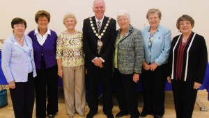 Federation Treasurer Anne Kirkwood, judge Nora Brown, Home & Garden Sub-Committee Chairman Nora Lennon, Mayor of DungannonRodger Burton, Federation Chairman Margaret Collinson, Federation Vice-Chairman Irene Craig and judge Barbara McGarry.