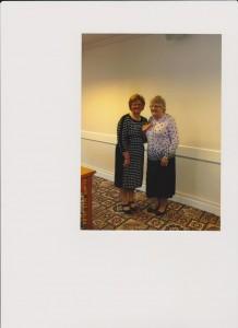 Area Ex. Member, Beth presenting Annie Cuddy, Pomeroy with a Silver Spinning Wheel