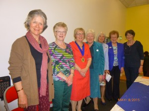 Lady Anthony Hamilton; Mrs Margaret Thompson, Erne Area Treasurer; Mrs Sylvia Johnston, President; Mrs Margaret Collinson; Mrs Paddy Leeman, past Erne Area Executive member; Mrs Mollie Linton, Secretary and Mrs Norma Heap, Erne Area Executive member.