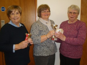 January Bowls Competition. President Beth with winner Maggie Mary Quinn and runner up Margaret Kelso