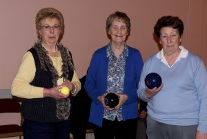 Gladys Taylor , marker for final bowls match with Freda Wallace , Spa W.I. & Babs Bassett, Ardglass W.I.