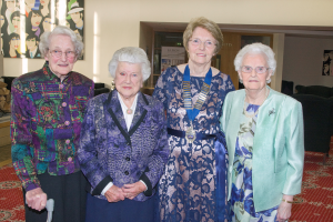 Honourary members, Grace Morrison, Mary Morrison, Isobel McBriar with President Nan Fulton