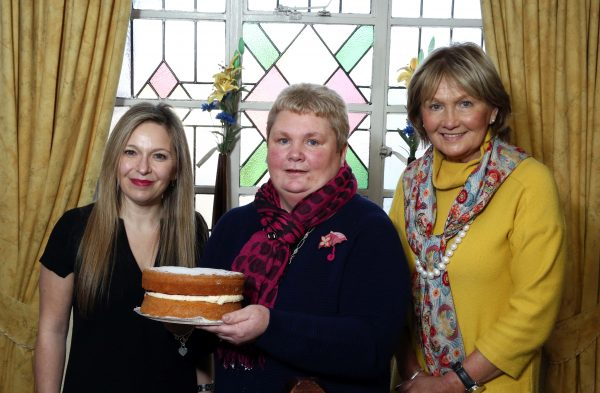 Bake Off semi-finalist Jennifer Creelman (representing Lower Bann Area) with judges Michelle Greeves and Jenny Bristow.