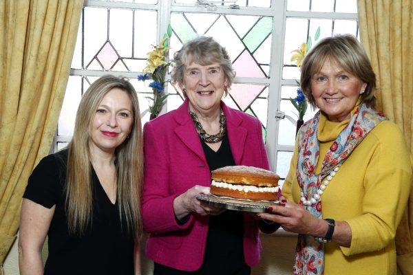 Bake Off semi-finalist Muriel Smyth (representing Ards Peninsula Area) with judges Michelle Greeves and Jenny Bristow.