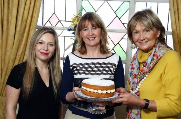 Bake Off semi-finalist Valerie McConnell (representing Abercorn Area) with judges Michelle Greeves and Jenny Bristow.