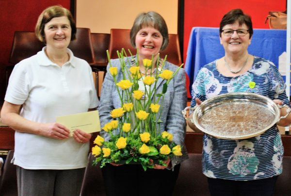 Pictured (left to right) at the WI Bowls Final: Runner-up Elma Irwin from Macosquin WI (representing the Lower Bann Area), Federation Chairman Elizabeth Warden, and 'WI Bowler of the Year' Dorothy McMullan from Myroe WI (representing the Roe Valley Area) who was the overall winner of the tournament.