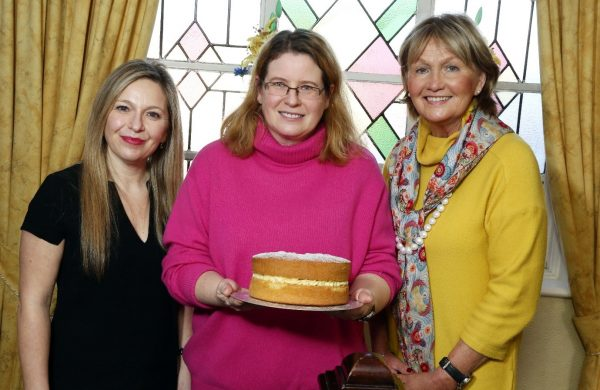 Bake Off semi-finalist Debbie McKibben (representing Quoile Area) with judges Michelle Greeves and Jenny Bristow.